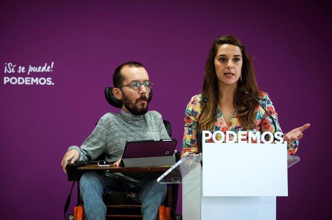 El Secretario de Organización de Podemos, Pablo Echenique, y la coportavoz del Consejo de Coordinación, Noelia Vera