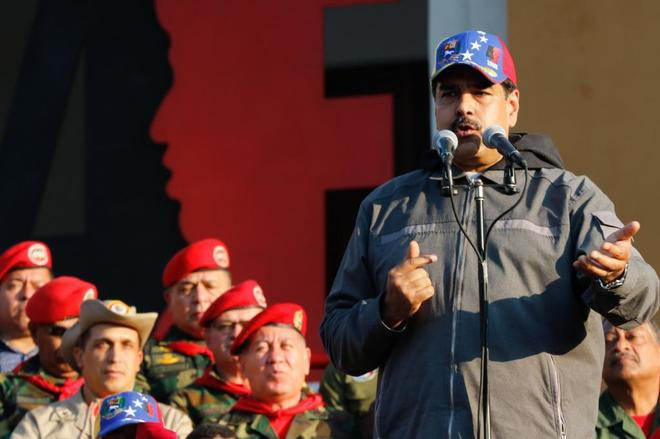 El dictador Nicolás Maduro durante un acto de Gobierno con militares este lunes en Maracay (Venezuela).