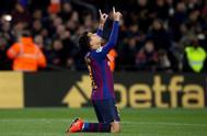 Coutinho, en la vuelta de cuartos de la Copa frente al Sevilla en el Camp Nou.