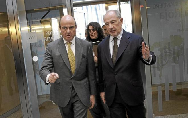 Luis de Guindos y Rodrigo Rato, durante un Encuentro Financiero Internacional organizado por Bankia.