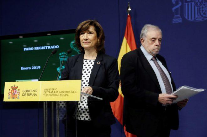 La secretaria de Estado de Empleo, Yolanda Valdeolivas, y el de la Seguridad Social, Octavio Grando.