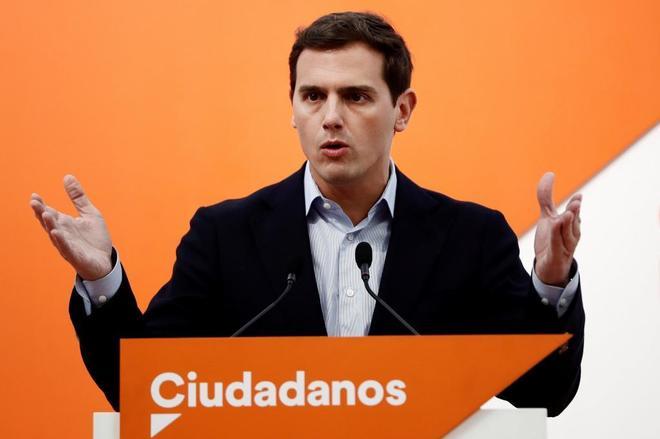 El presidente de Ciudadanos, Albert Rivera, tras la reunión del...