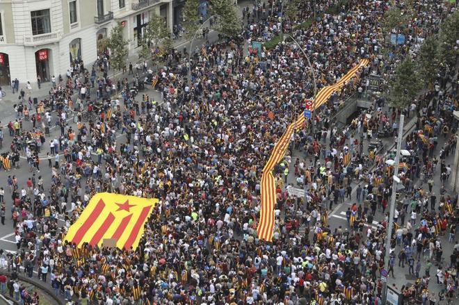 Un momento de la huelga general del 3 de octubre de 2017, en el centro de Barcelona