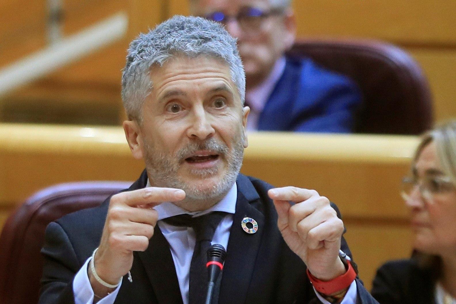 El ministro del Interior Fernando Grande-Marlaska durante su comparecencia en el Senado.