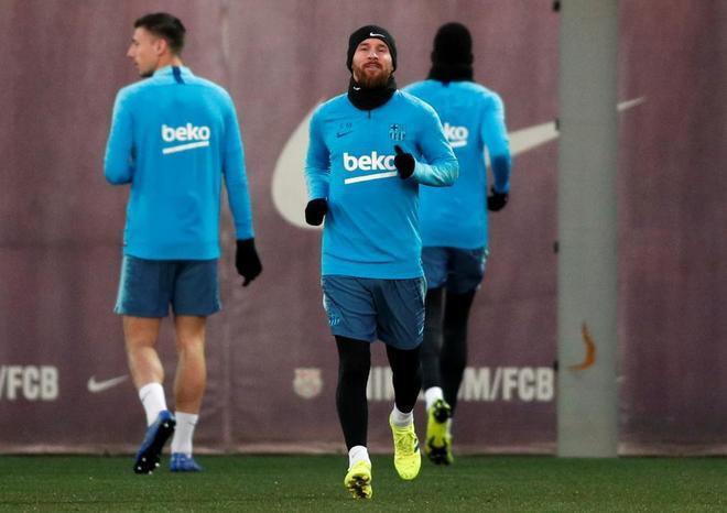 Leo Messi, durante el entrenamiento previo al clásico de Copa.