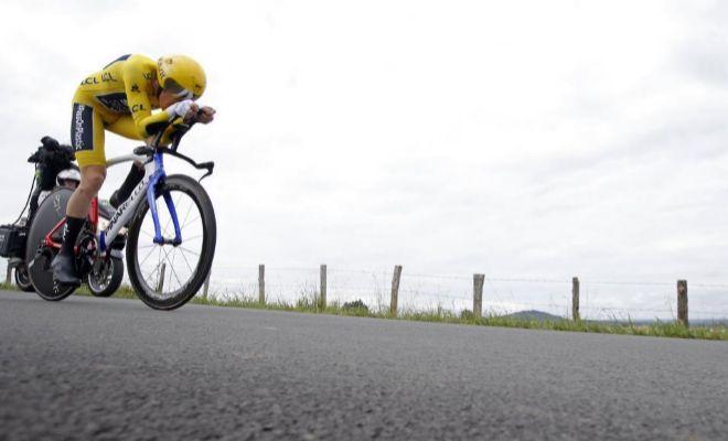Thomas, durante la última contrarreloj del Tour de 2018, con meta en Espelette.