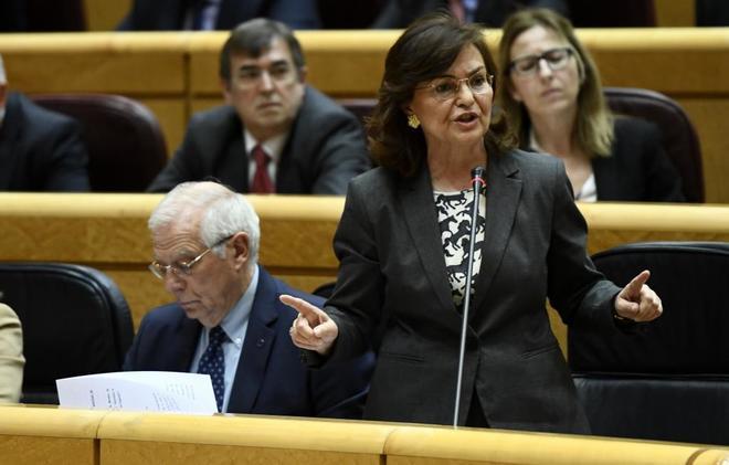 La vicepresidenta del Gobierno, Carmen Calvo, en la sesión de control...