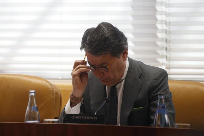 Ignacio González en su comparecencia ante la Asamblea de Madrid sobre el caso del presunto espionaje.