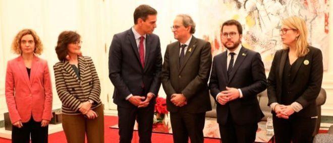 Los presidentes del Gobierno y la Generalitat, Pedro Sánchez y Quim...