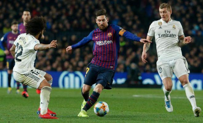 Messi, entre Marcelo y Kroos, durante la ida de semifinales en el Camp Nou.