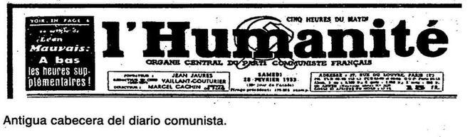 Antigua cabecera del diario 'L'Humanité', órgano del Partido Comunista Francés.