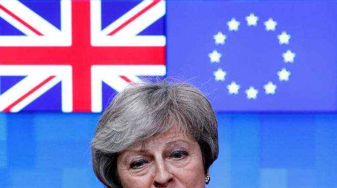 La primera ministra británica, Theresa May, el jueves en Bruselas.