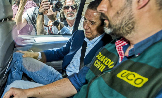 Eduardo Zaplana, el día de su detención en Valencia.