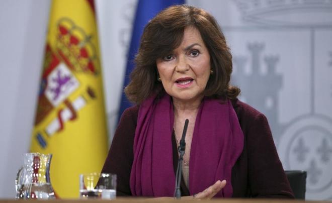 La vicepresidenta del Gobierno, Carmen Calvo, en su comparecencia en...