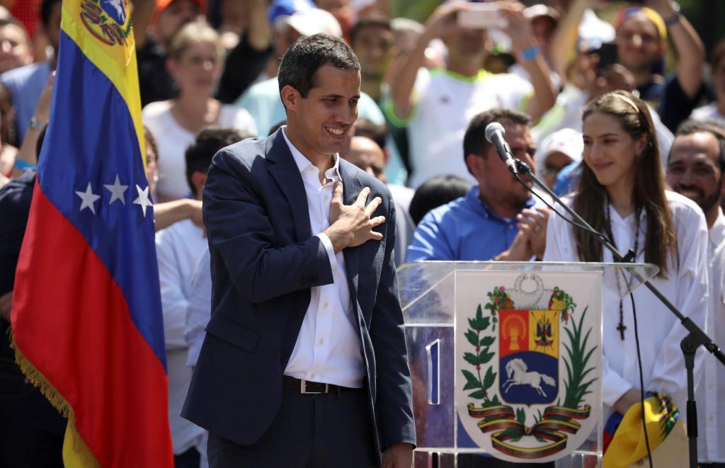 El presidente encargado de Venezuela, Juan Guaidó, en una concentración contra Maduro, en Caracas.