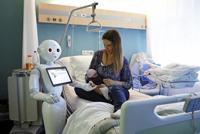 Un robot humanoide en un hospital de Bélgica.