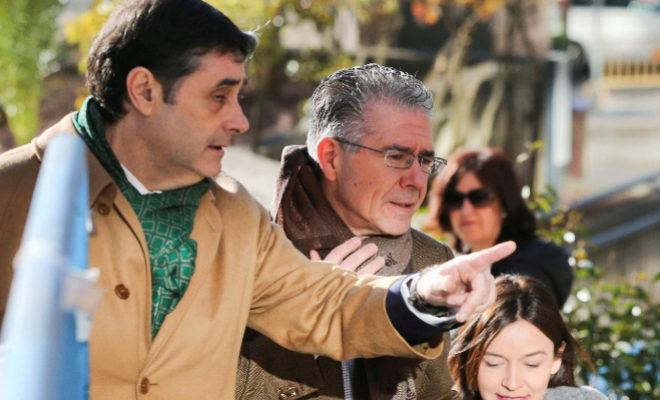 Francisco Granados (en el centro), esta mañana, a su llegada a la Audiencia Provincial de Madrid.