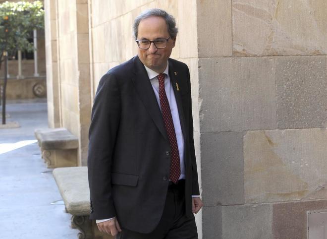 El presidente de la Generalitat, Quim Torra, llega al Palau de la...
