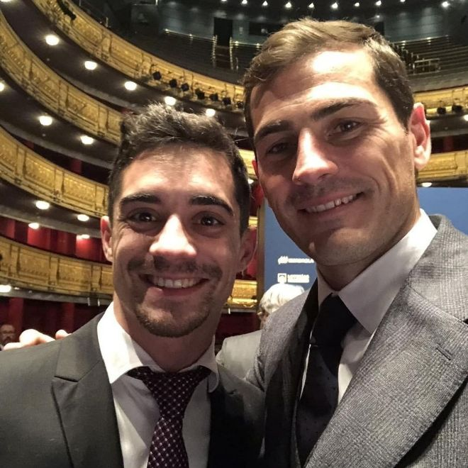 Javier Fernández e Iker Casillas juntos en la Gala 80 aniversario de MARCA el pasado 13 de diciembre.
