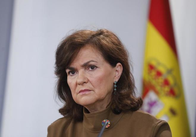 Rueda de prensa de Carmen Calvo tras el Consejo de Ministros en el...