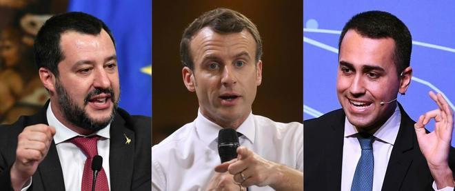 De izquierda a derecha en la imagen: Matteo Salvini, Emmanuel Macron y Luigi di Maio.