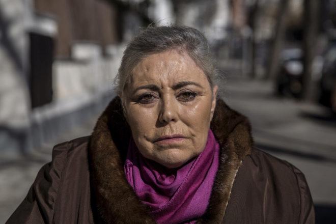 Carmen Millán el pasado martes frente a la embajada de Marruecos en Madrid.