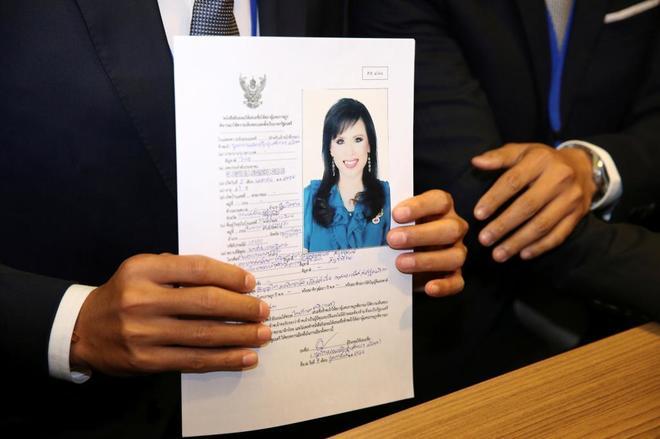 Documento en el que se registraba a Ubolratana, hermana del rey de Tailandia, como candidata a primera ministra del país.