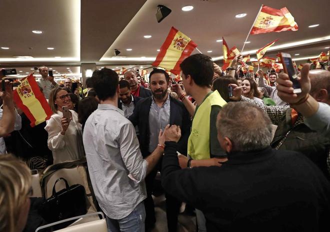 El presidente de Vox, Santiago Abascal, en un acto del partido en...