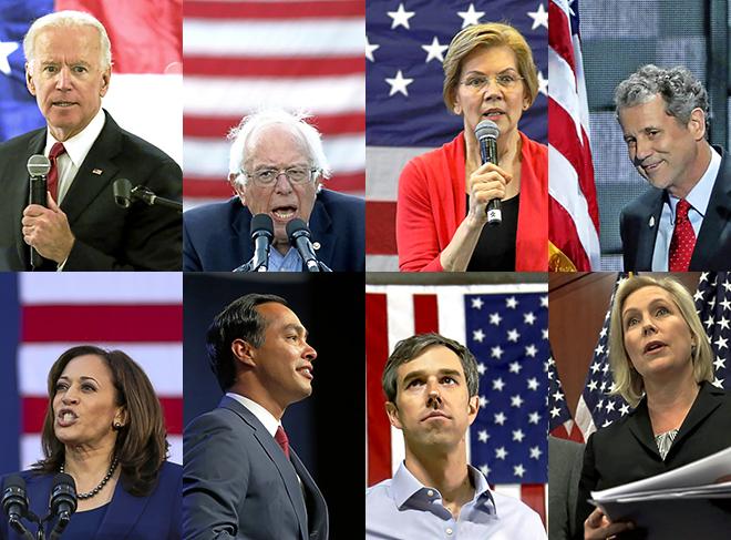 De izquierda a derecha y de arriba a abajo: Joe Biden, Bernie Sanders, Elizabeth Warren, Sherrod Brown, Kamala Harris, Julián Castro, Beto O'rourke, Kirsten Gillibrand.