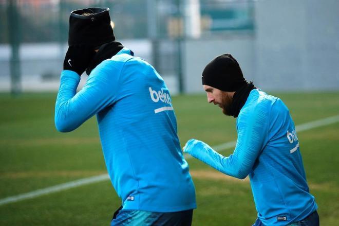 Messi, durante el último entrenamiento del Barça.
