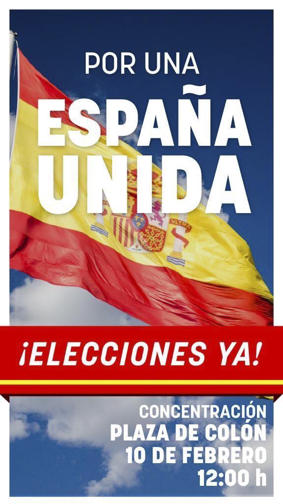 """Cartel de la concentración """"por una España unida"""" en la Plaza de Colón el 10 de febrero."""