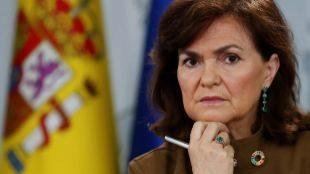 La vicepresidenta Carmen Calvo, en rueda de prensa el pasado viernes...