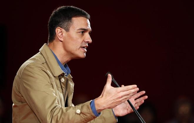 El presidente del PSOE, Pedro Sánchez, en un acto en Barakaldo con...