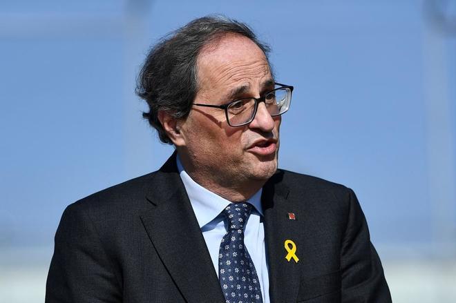 El presidente de la Generalitat, Quim Torra, durante su visita a Soto...