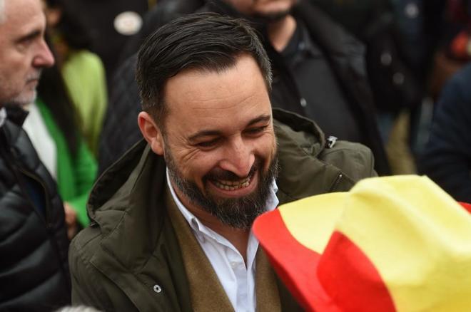 El presidente de Vox, Santiago Abascal, durante la concentración en...