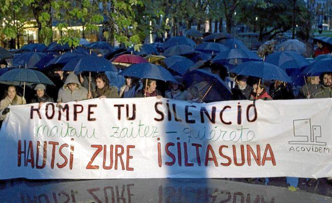 Una manifestación en el País Vasco contra la violencia machista.