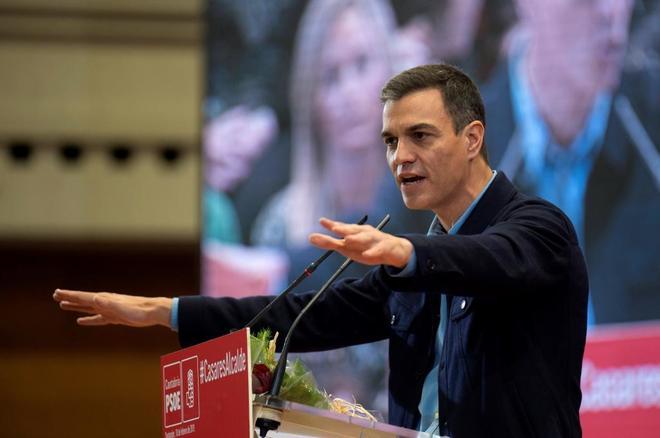 El presidente del Gobierno, Pedro Sánchez, durante un acto del PSOE...