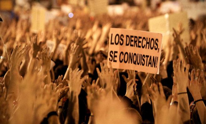 Protesta del movimiento 15-M en la Puerta del Sol, en 2011.