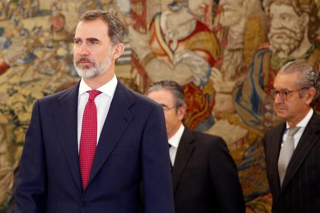 Felipe VI, el pasado día 8, durante una audiencia al Consejo de...