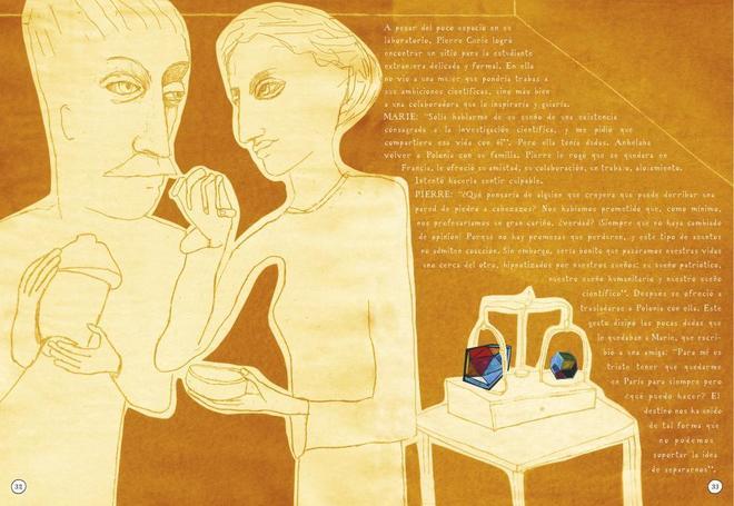 Una de las páginas de 'Radioactivo', el libro de Lauren Redniss.