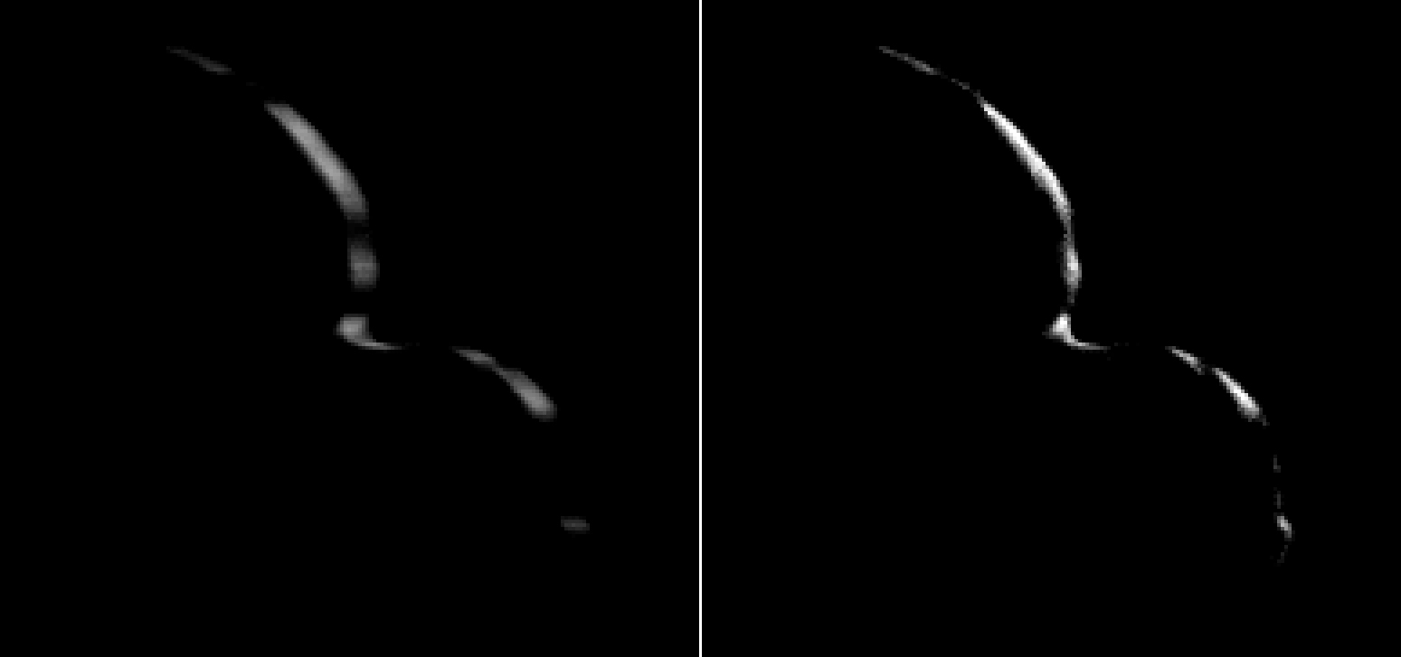 Imágenes del pequeño mundo Ultima Thule captadas por la sonda espacial 'New Horizons' el 1 de enero.
