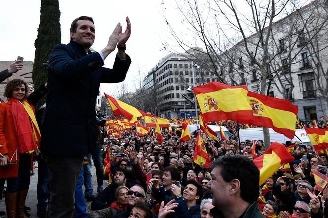 El líder del PP, Pablo Casado, el domingo en la Plaza de Colón.