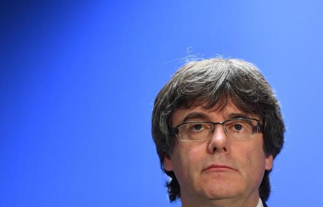 Carles Puigdemont, en una comparecencia de prensa en Bruselas.