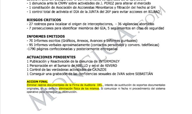 """Documento en el que Villarejo habla de su """"acción final"""""""