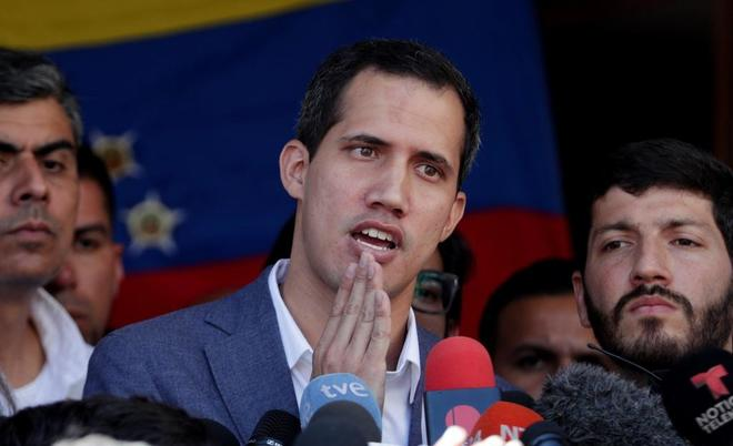 El jefe del Parlamento venezolano, Juan Guaidó, en Caracas.