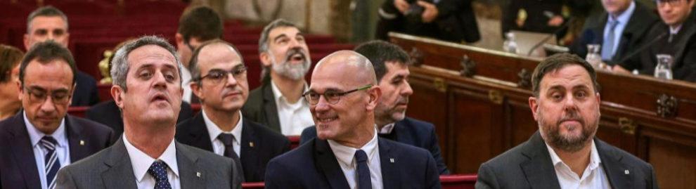 Los 12 líderes independentistas acusados en el juicio al procés...
