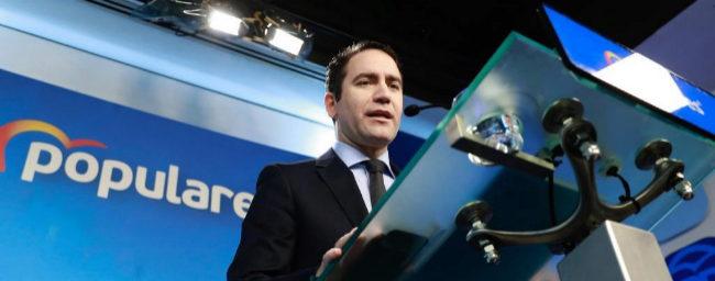 Teodoro García Egea, secretario general del PP, en rueda de prensa en...