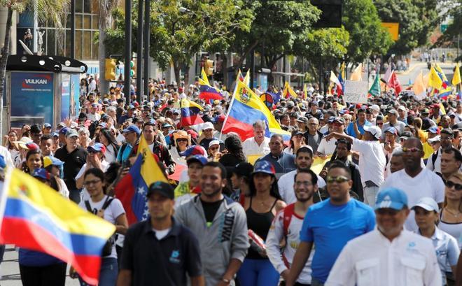 Manifestación juvenil en Caracas contra el chavismo.