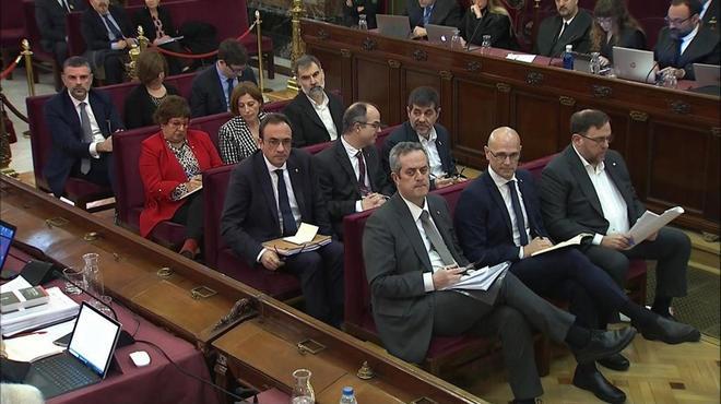 Los 12 líderes independentistas acusados por el 1-O, en la segunda...