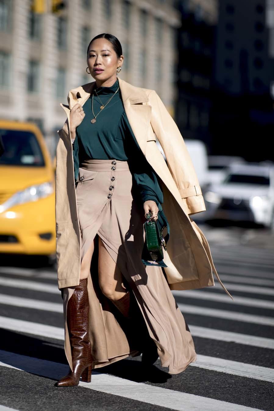 Falda larga con botones - Street style - New York Fashion Week